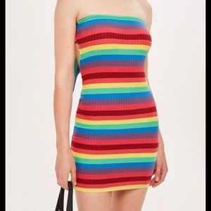 Topshop Rainbow Bandeau Dress